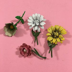 Vintage Flower Brooches Jewelry Assorted Lot